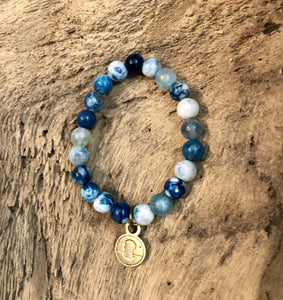 Salty Words Bracelet - Teal Blue Cracked Ice Agate