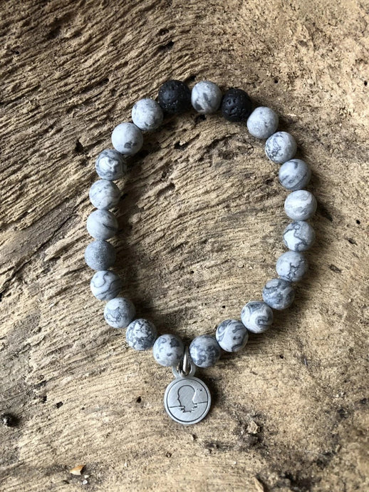 Grey Map Stone Beach Scented Aromatherapy Bracelet