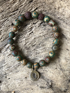 Decorated Green Tibetan Agate Beach Scented Aromatherapy Bracelet