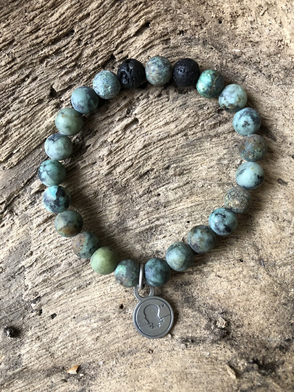 African Turquoise Matte Finish Beach Scented Aromatherapy Bracelet - choice of silver or gold charm