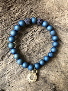 Druzy Blue Metallic Coated Stone Beach Scented Aromatherapy Bracelet