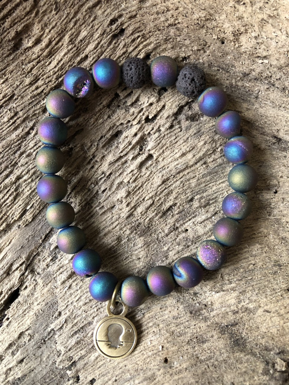 Druzy Purple Metallic Coated Stone Beach Scented Aromatherapy Bracelet