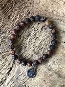 Decorated Brown Tibetan Agate Beach Scented Aromatherapy Bracelet
