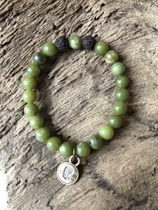 Jade Green Beach Scented Aromatherapy Bracelet - choice of silver or gold charm