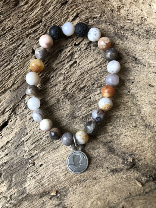 India Beads Beach Scented Aromatherapy Bracelet - choice of silver or gold charm