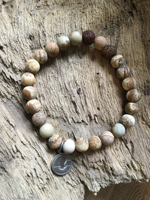 Brown Map Stone Beach Scented Aromatherapy Bracelet - choice of silver or gold charm