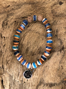 Decorated Blue Tibetan Agate Beach Scented Aromatherapy Bracelet