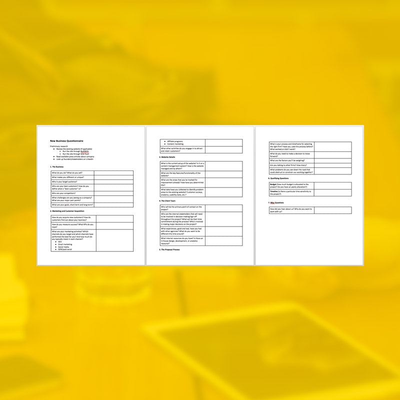 New Business Questionnaire Template - AgencyDocs