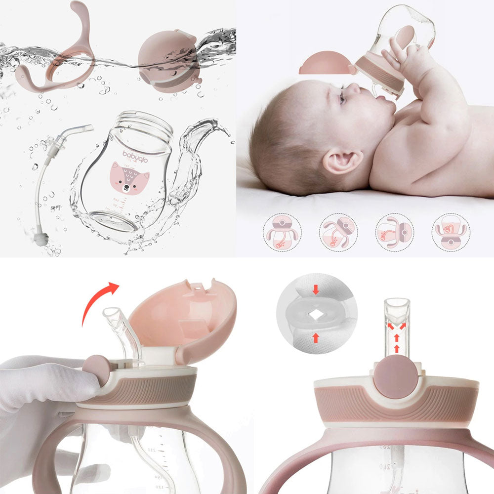BabyQlo Sippy Cup with Straw - Pink