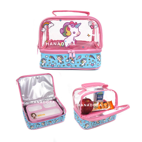 Lunch Box Set Yooyee Mini + Double Decker Bag - Unicorn