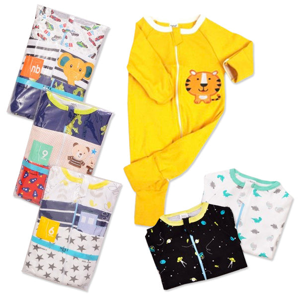Sleepsuit Zipper 3in1 - Sleepsuit Resleting / Baju Tidur Bayi - Boy