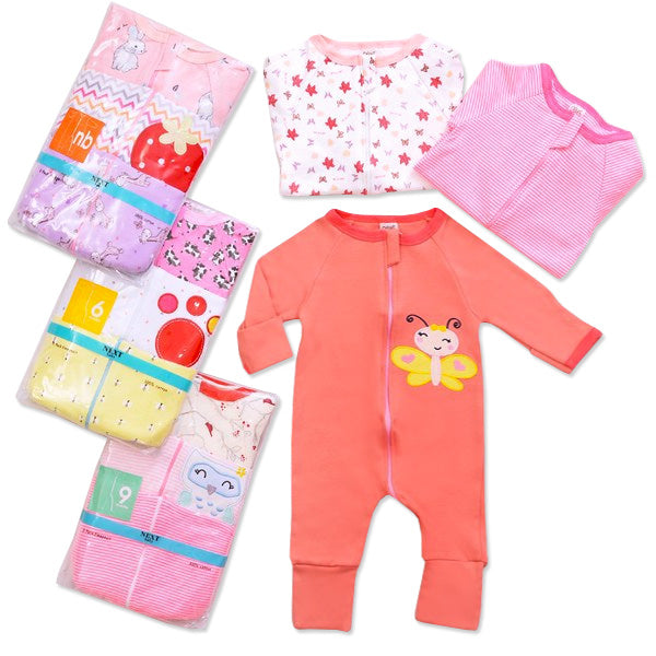Sleesuit Zipper 3in1 - Sleepsuit Bayi dengan Resleting - Girl