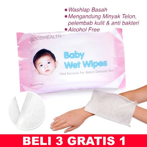BELI 3 GRATIS 1 - Goodhealth Baby Wet Gloves - Washlap Bayi