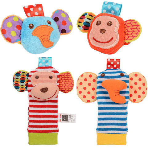 SKK Baby Wrist Rattle and Socks Set - Elephant Monkey