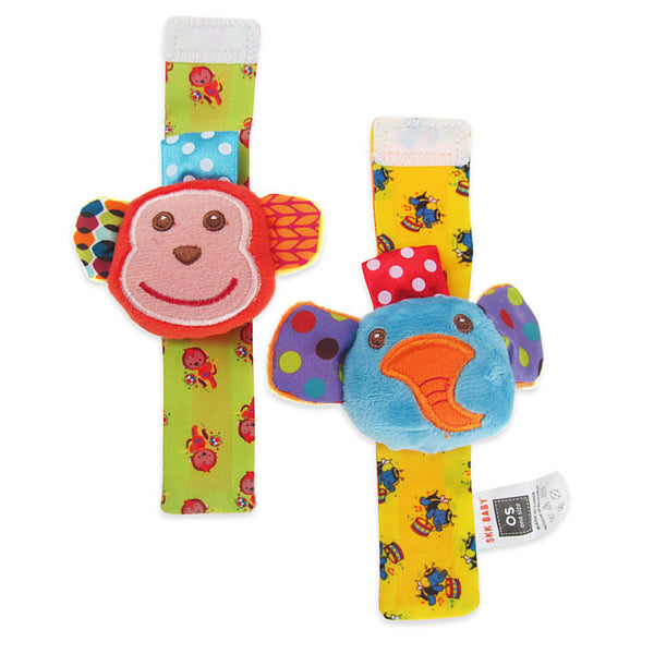 SKK Baby Wrist Rattle Set 2pcs - Elephant Monkey