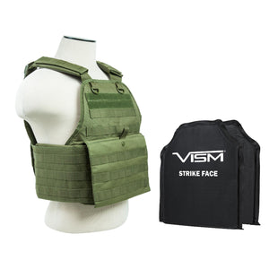 "Plate Carrier Vest - 2 10"" x 12"" Soft Panels, Green"