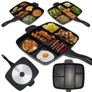 "Super Deluxe Pan Non-Stick Divided Grill/Fry/Oven Meal Skillet, 15"", Black - CubeTrends"