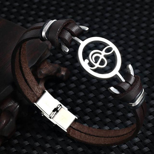 New Musical Notes Leather Bracelet - CubeTrends