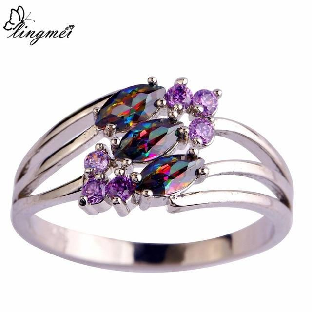 Multi-Color & Purple CZ Silver Color Ring - CubeTrends