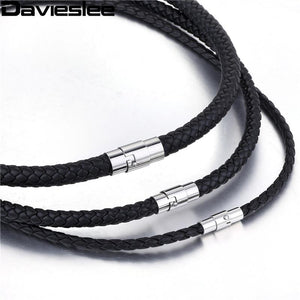 Thin Black Braided Cord Rope Man Made Leather Necklace - CubeTrends