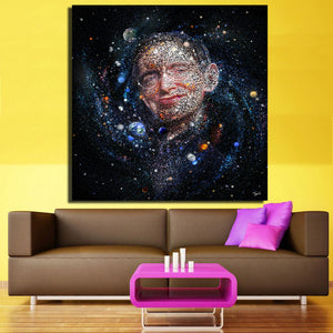 "Stephen Hawking - ""The Starry Universe"" Canvas Mosaic Portrait - CubeTrends"