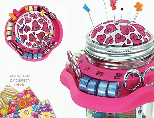 Smartneedle TuTu Creative Sewing Organizer and Pincushion - for a Mason Jar - Pink