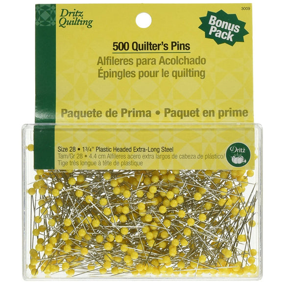 Dritz Size 1-3/4-Inch Quilting Quilter's Straight Pins, 500-Pack