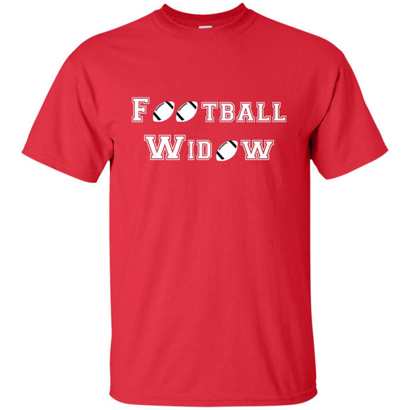 Football Widow - Funny Tee about Football and Marriage - T-Shirt, Unisex ● Red ● ShopOldGettinPlace.com ● #oldgettinplace
