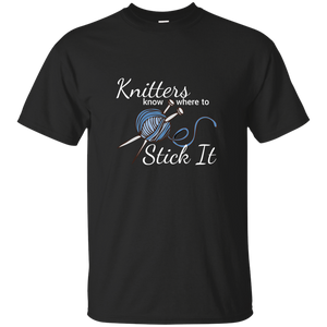 Knitters Know Where to Stick It - T-Shirt Unisex Blue ●  OldGettinPlace.com ● #oldgettinplace