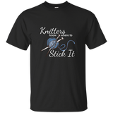 Knitters Know Where to Stick It - T-Shirt Unisex Black ●  OldGettinPlace.com ● #oldgettinplace