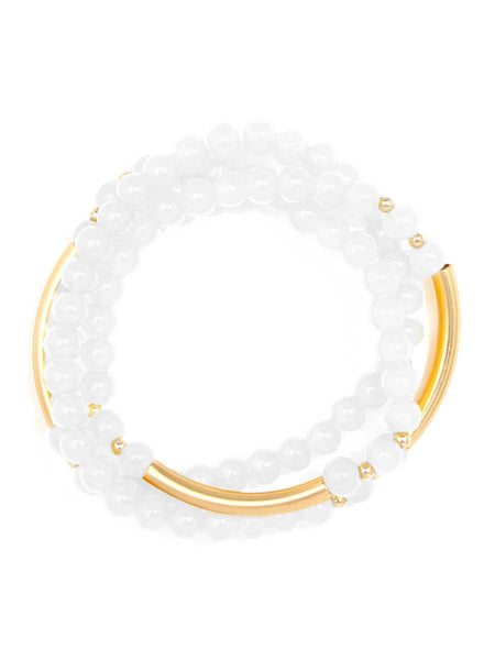 Glossy Beaded Stretch Bracelet w/ Gold Accents - 2 Color Options - Spring Collection