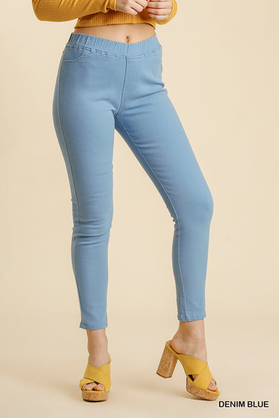 Denim Blue Elastic Waist Stretchy Skinny Pants - Spring Collection
