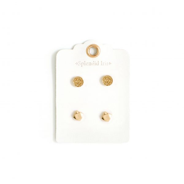 Gold Geometric Stud Earrings Set