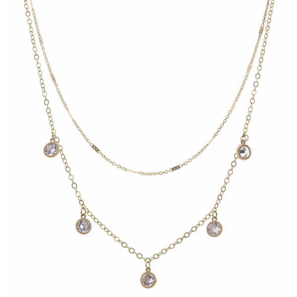 Gold Double Layer Necklace w/ Rhinestones - Spring Collection