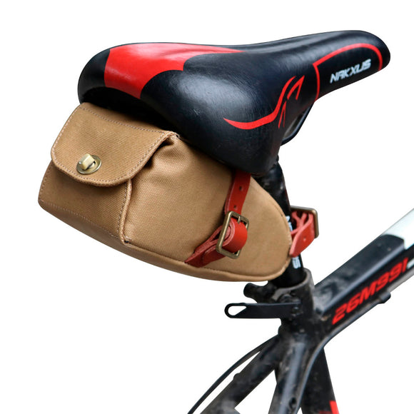 Retro Wax Canvas Bicycle Saddle Bag Seat Tail Phone Pouch Cycling Accessories Bike Equipment