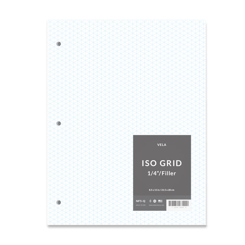 "Vela Filler Paper, 8.5 x 11 in, 50 Sheets, 1/4"" Isometric Grid"