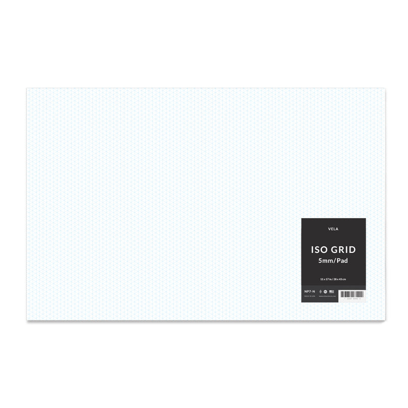 Vela Graph Pad, 11 x 17 in, 50 Sheets, 5mm Isometric Grid