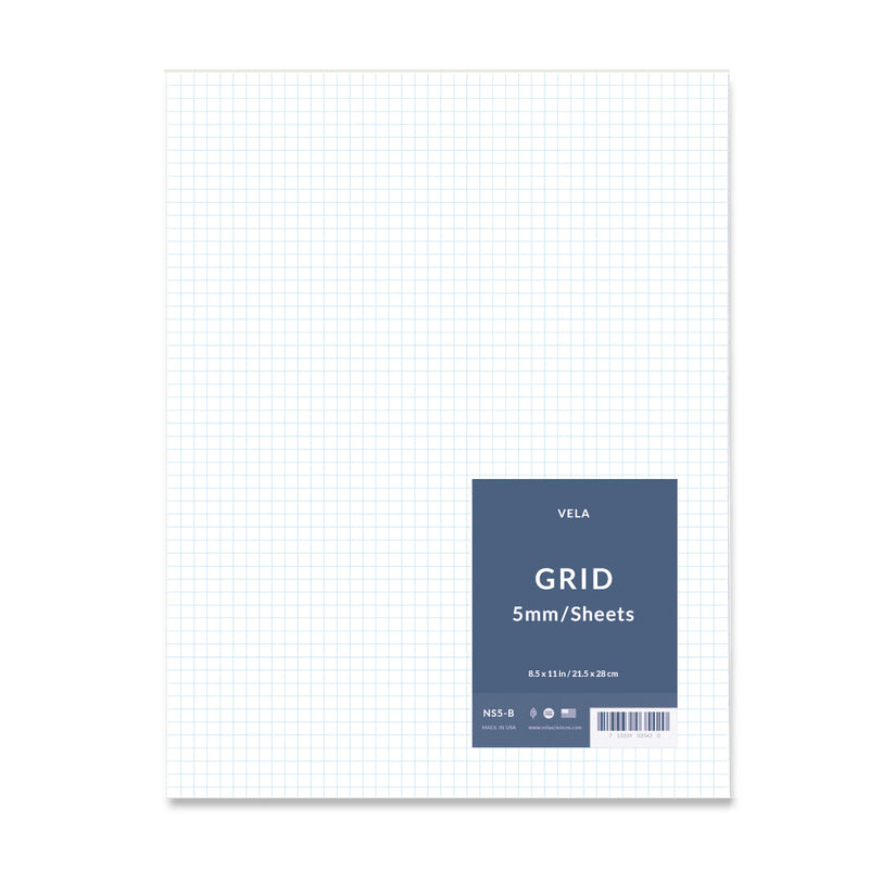 Vela Graph Sheets, 8.5 x 11 in, 50 Sheets, 5mm Grid