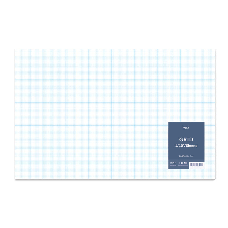 "Vela Graph Sheets, 11 x 17 in, 100 Sheets, 1/10"" Grid"