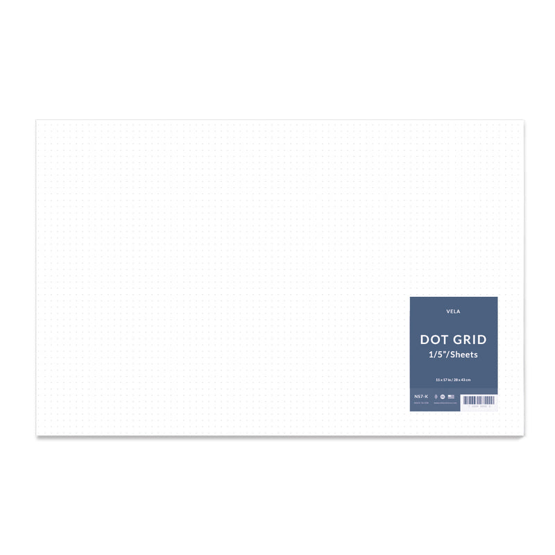 "Vela Graph Sheets, 11 x 17 in, 50 Sheets, 1/5"" Dot Grid"
