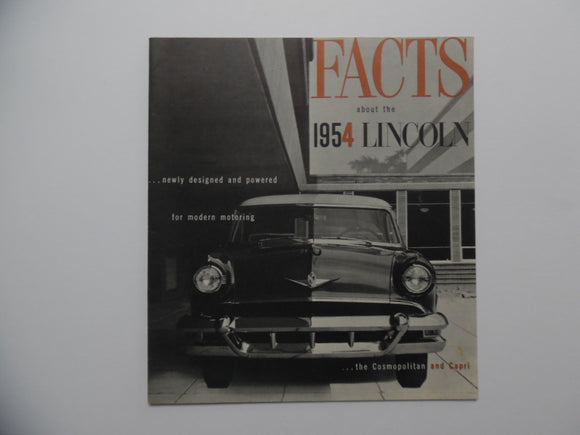 1954 Lincoln Facts Car Brochure Cosmopolitan Capri