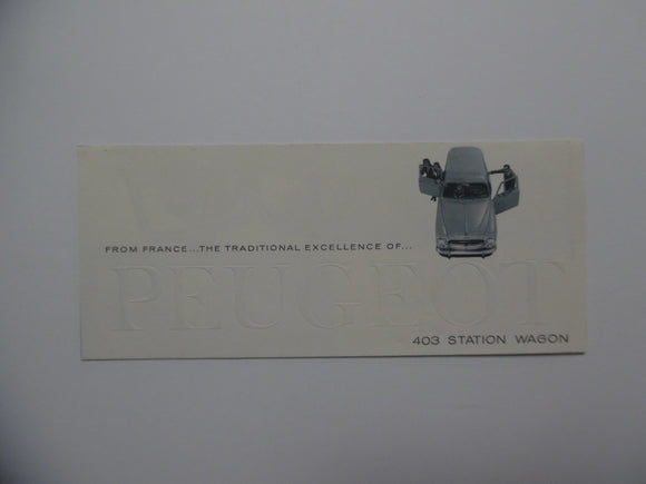 1960 Peugeot 403 Station Wagon Car Brochure