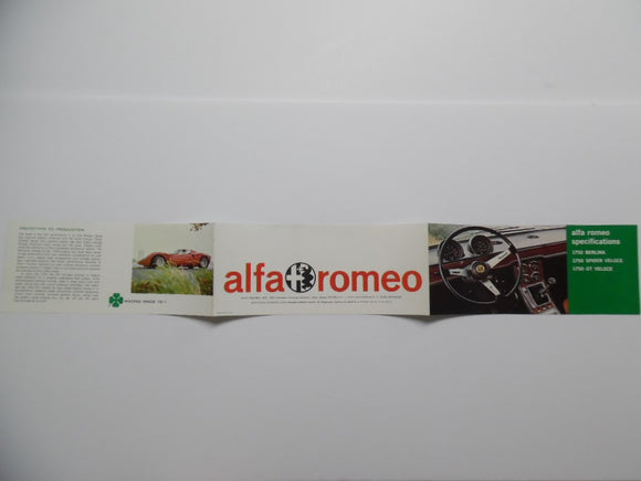 1968 Alfa Romeo 1750 Berlina Spider Veloce GT Car Brochure