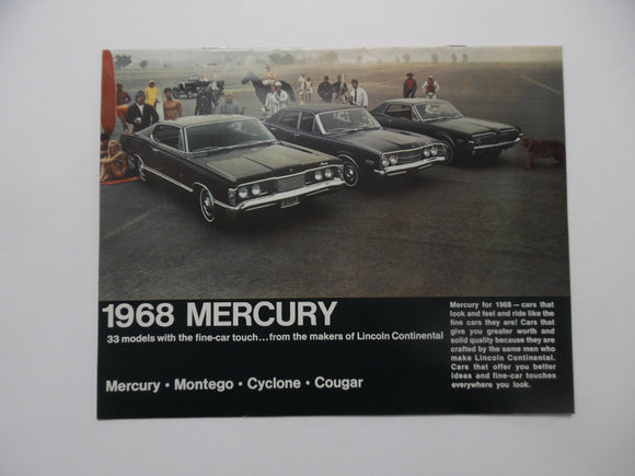 1968 Mercury Full Line Car Brochure Montego Cyclone Cougar Vintage Original