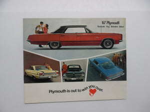 1967 Plymouth Full Line Brochure Barracuda Fury Belvedere Valiant Original