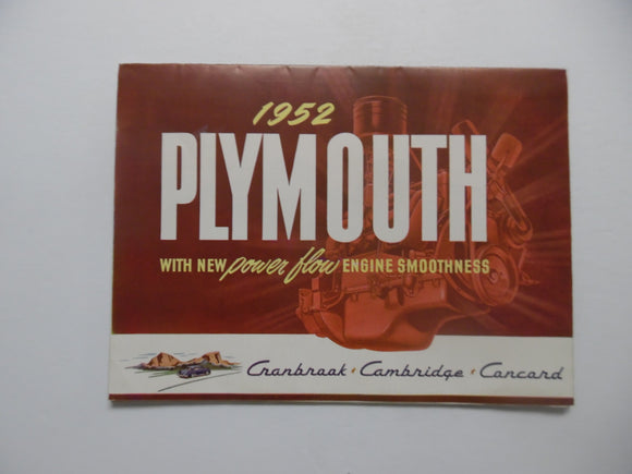 1952 Plymouth Car Engine Brochure Cranbrook Cambridge Concord Vintage Original