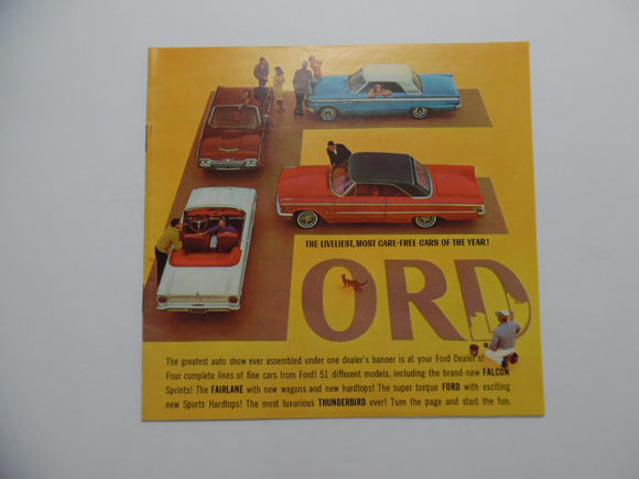 1963 Ford Full Line Car Brochure Falcon Fairlane Thunderbird Vintage Original