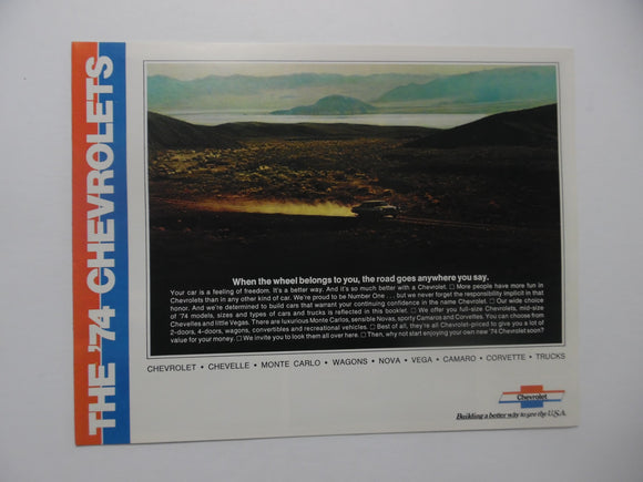 1974 Chevrolet Full Line Car Brochure Chevelle Monte Carlo Nova Camaro Original