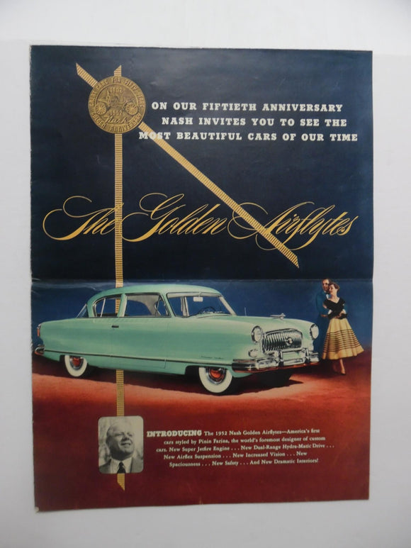 1952 Nash Golden Airflyte Car Brochure Ambassador Statesman Vintage Original