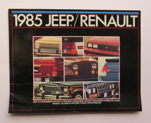 1985 Jeep Renault Brochure CJ Scrambler Pickup Cherokee Wagoneer Eagle Alliance Encore